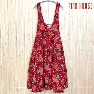 PINK HOUSE - 《PINK HOUSE》ワンピース ストロベリー柄 リボン ティアード