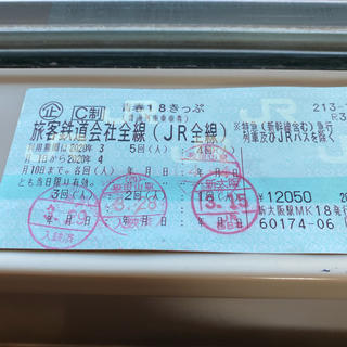 ジェイアール(JR)の青春18きっぷ 残り1回 即発送(鉄道乗車券)