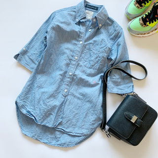MADISONBLUE - 美品♥マディソンブルー コットン リネンシャツ 5分袖 ブルー 青 麻