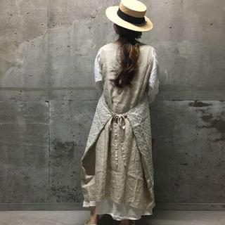 SM2 - SUHARU 新品 リネン刺しゅうエプロンワンピース キナリ