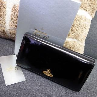 ヴィヴィアンウエストウッド(Vivienne Westwood)の正規品☆ヴィヴィアン 長財布 黒 エナメル オーブ バッグ 財布 小物(財布)