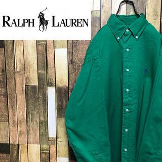Ralph Lauren - 【激レア】ラルフローレン☆ワンポイント刺繍ロゴビッグボタンダウンシャツ 90s