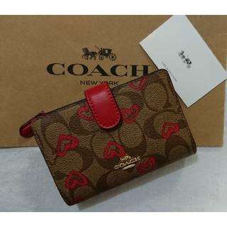 COACH - 【2020 春 最新作❗】 コーチ2つ折り財布  カーキ×レッドマルチ
