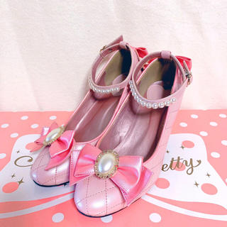 Angelic Pretty - Victrian ribbon シューズ ピンク