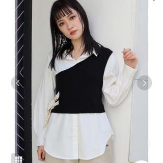 MURUA - MURUA ワンショルニットレイヤーシャツ ブラック