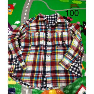 ミキハウス(mikihouse)の【中古】ダブルビー★リバーシブルチェックシャツ★100(ジャケット/上着)