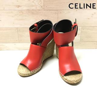 celine - 【CELINE】サンダル(36) レザー ウェッジサンダル  エスパドリーユ