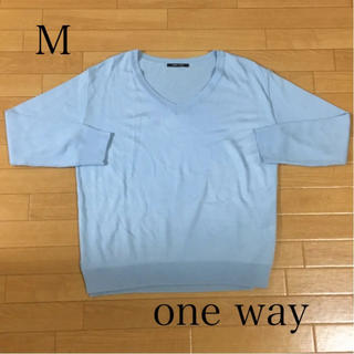 one*way - 美品 one way ニット ブルー Vネック