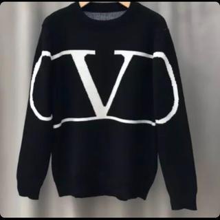 selectshop style Vロゴニット  ブラック(ニット/セーター)