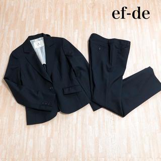 エフデ(ef-de)のef-de エフデ スーツ ジャケット スカート 上下セット 黒 ストライプ(スーツ)