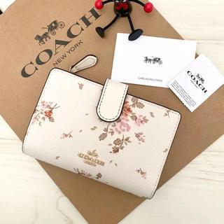 COACH - 新品 COACH 折り財布 花柄  ホワイト 白色 ピンク