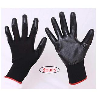 作業用 手袋 グローブ ガーデニング 園芸用 耐摩擦性 Mサイズ 3対ブラック
