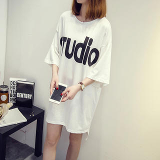 ロゴ Tシャツ 裾不規則 半袖 ホワイト 大きいサイズ(Tシャツ(半袖/袖なし))