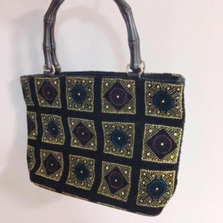 グリモワール(Grimoire)のvintageレトロ古着ベルベット刺繍ビンテージbag(ハンドバッグ)