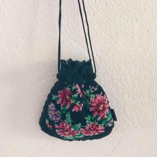 グリモワール(Grimoire)のvintageレトロ古着ゴブランお花刺繍シュニール織り巾着ポーチ(ハンドバッグ)