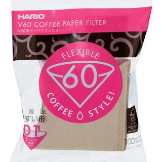 ハリオ(HARIO)のHARIO V60用ペーパーフィルター  1~2杯用100枚入り みさらし新品(調理道具/製菓道具)