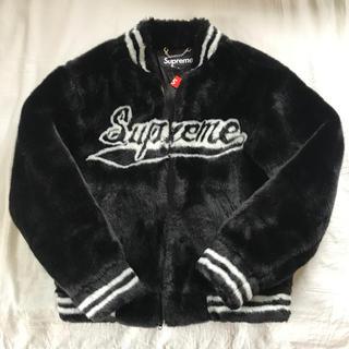 シュプリーム(Supreme)のSupreme Faux Fur Varsity Jacket Sサイズ 黒 (ブルゾン)