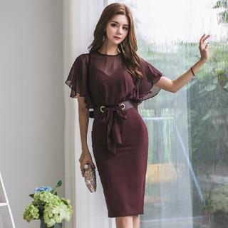 Sサイズ ボルドーカラー ドレス ワンピース(ひざ丈ワンピース)