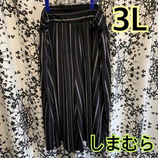 シマムラ(しまむら)のガウチョパンツ ワイドパンツ ♡ブラックストライプ3L♡(カジュアルパンツ)