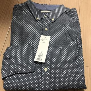 GU - 新品タグ付 GU ジーユー 長袖 オックスドットプリントシャツ Lサイズ