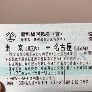 ジェイアール(JR)の新幹線回数券◎東京↔︎名古屋(鉄道乗車券)