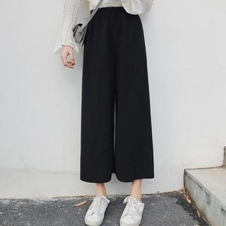 dholic - 韓国ファッション ハイウエストパンツ ワイドパンツ 9分丈パンツ ガウチョパンツ