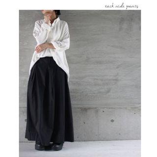 antiqua - 【antiqia】クロス タック 綿 ワイド パンツ ブラック【アンティカ】