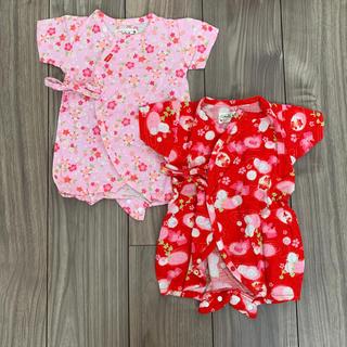 甚平ロンパース 50-60 赤とピンク 2枚セット 双子 お揃い 新生児
