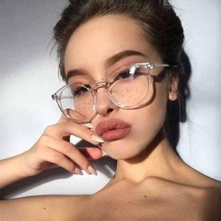 ブルーライトカット サングラス PC眼鏡 UVカット 伊達メガネ ボストン 透明