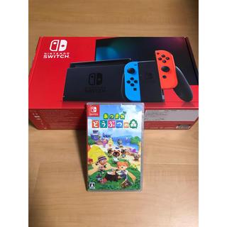 Nintendo Switch - 任天堂Switch 本体 ネオン 新型 +どうぶつの森 セット