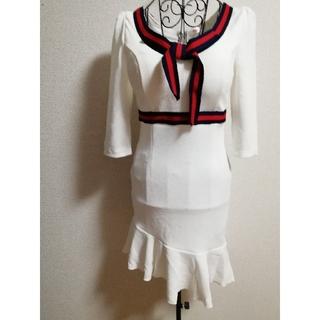 デイジーストア(dazzy store)のドレス ワンピース タイト フリル バイカラー リボンレトロ ミニ(ミニドレス)