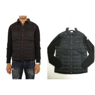 モンクレール(MONCLER)のサイズM■モンクレール新品シャツ型ニット切替ダウンジャケット メンズ(ダウンジャケット)