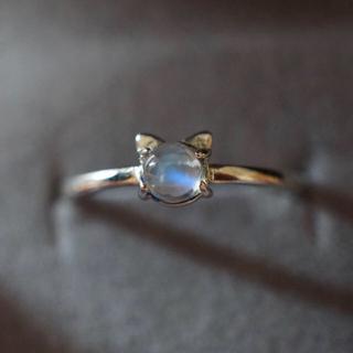 新品 高品質 高透明ラブラドライト 猫リング(リング(指輪))