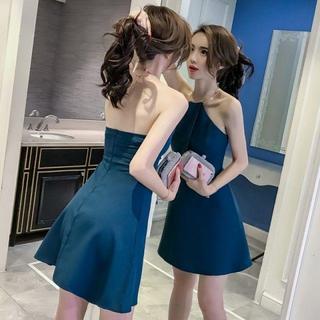 ドレス ワンピース リング ホルターネック Aライン 3色 05170003 (ミニドレス)