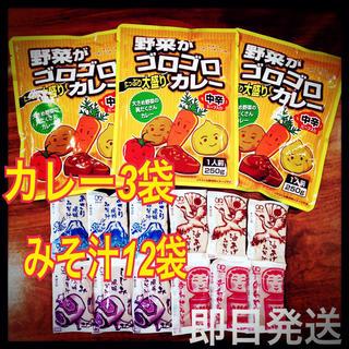 レトルトカレー★野菜がゴロゴロカレー➕味噌汁・みそ汁インスタント12袋