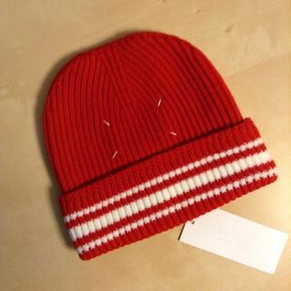 マルタンマルジェラ(Maison Martin Margiela)の新品■M■マルジェラ 18aw■ライン入り ニット キャップ■赤■8123(ニット帽/ビーニー)