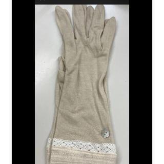 【23】uv手袋 つり革対策 花ボタン ベージュ(手袋)