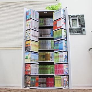 驚異の収納力!コミック400冊収納可 すっきりデザイン本棚 ホワイト(本収納)