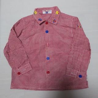 mikihouse - MIKI HOUSE 襟刺繍チェックシャツ