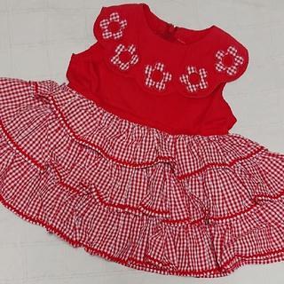 Shirley Temple - 80 シャーリーテンプル 赤ギンガムとお花モチーフのワンピース