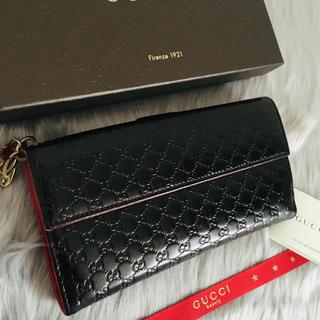 Gucci - 美品 グッチ 長財布 二つ折り Wホック マイクロGG