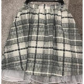 アンクルージュ(Ank Rouge)のグレーチェックスカート(ひざ丈スカート)