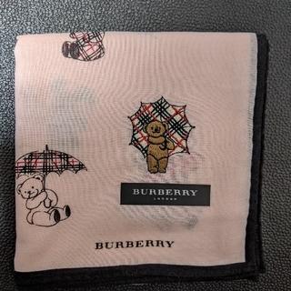BURBERRY - BURBERRYベア刺繍ピンクハンカチ
