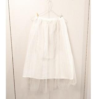 エージープラス(a.g.plus)のチュールスカート(白)(ロングスカート)