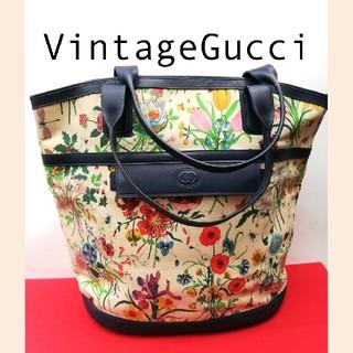 Gucci - 希少!オールドグッチ フローラ 大型ビンテージハンドバッグ 正規品 トートバッグ