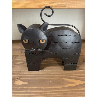ブリキ製香炉 黒猫 アンティーク(置物)