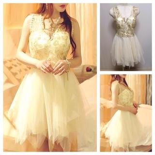 新品☆ビジュー×チュールスカートドレス(ミニドレス)