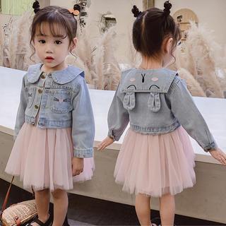 KSCS032春子供服 セットアップ デニム トップス+ワンピース