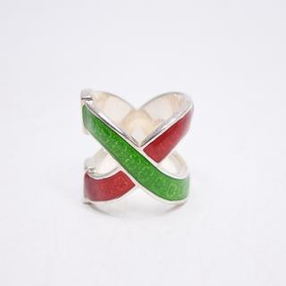 グッチ(Gucci)のGUCCI グッチ シェリーライン リング 指輪 グリーン レッド 8号ミケーレ(リング(指輪))