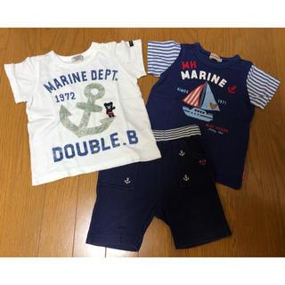 mikihouse - ミキハウス マリンTシャツ、プッチーヨットシャツ、マリンハーフパンツ (90)